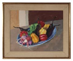 Still Life with Garden Vegetables, Oil Painting, Circa 1987