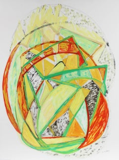 Large Cubist Abstract in Oil Paint, Late 20th Century