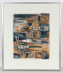 Modernist Abstract Lithograph in Blue and Brown, Mid-Century