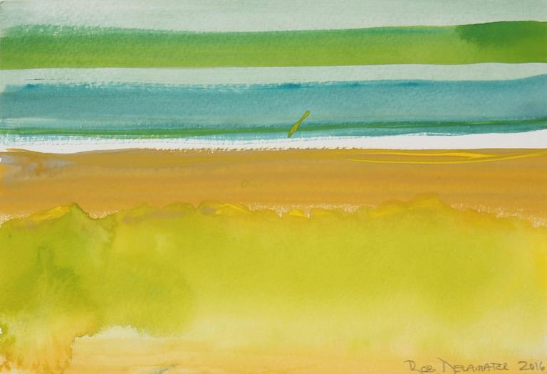"""""""Yellow and Green Horizon"""" Abstracted Landscape In Gouache, 2016"""