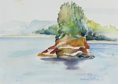 California Coastal Inlet, Watercolor, 20th Century