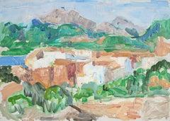 Coastal European Village, Oil on Canvas Landscape, Circa 1950