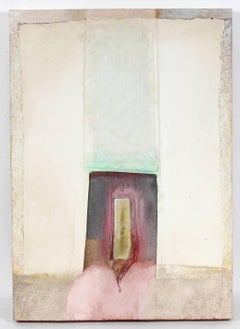 Mixed Media Abstract Painting on Wood, 1984