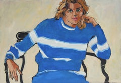 """""""Oakland, Linda"""" Oil Painting Portrait in Striped Royal Blue, 1972"""