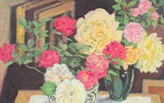 Still Life with Flowers in Oil, 20th Century