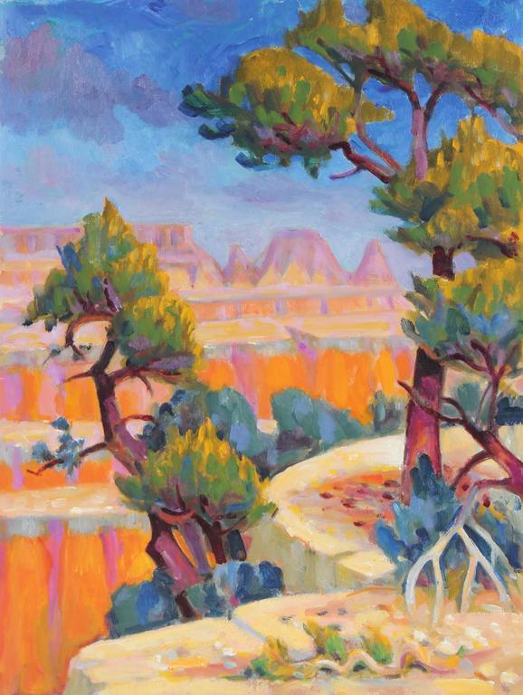 Desert Canyon Landscape in Oil, 20th Century