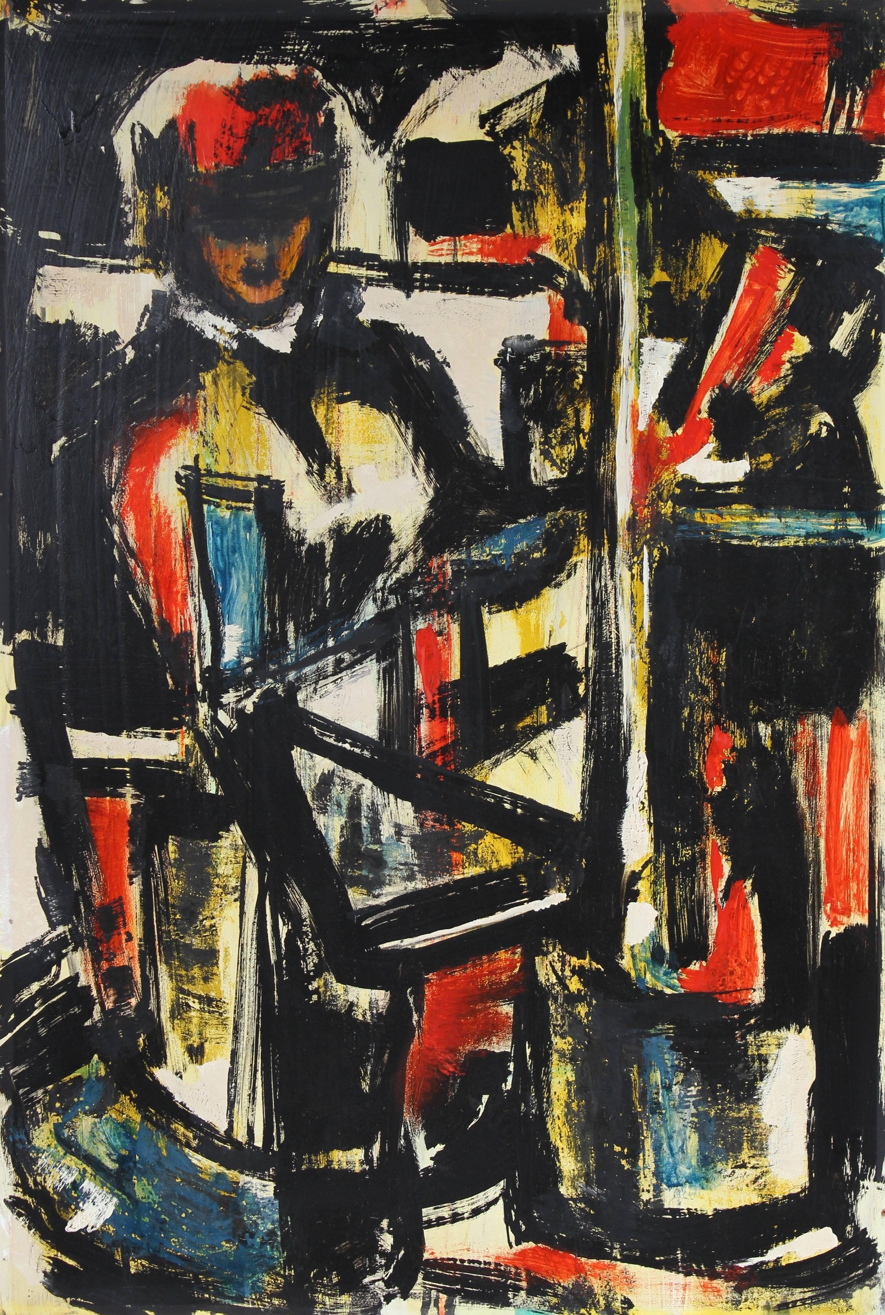 Mid Century Expressionist Portrait Painting, Circa 1950