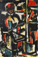 Mid Century Expressionist Portrait Painting, Circa 1950