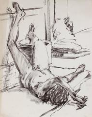 Bay Area Figurative Interior Study in Charcoal, 1991