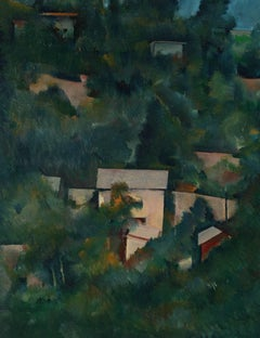 Los Angeles Hillside Landscape, Oil on Paper, Late 20th Century