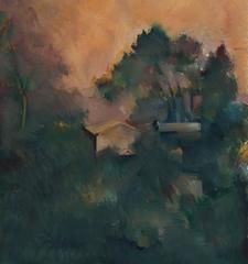 Los Angeles Hillside at Sunset, Oil on Paper, 20th Century
