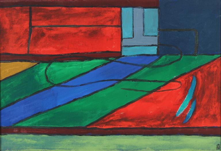 Bright Geometric Abstract in Acrylic, 20th Century