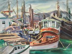 Harbor with Boats, Watercolor, Mid 20th Century