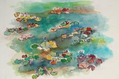 Abstracted Lily Pond Landscape in Watercolor, 20th Century