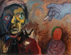Expressionist Figures with Cigarette