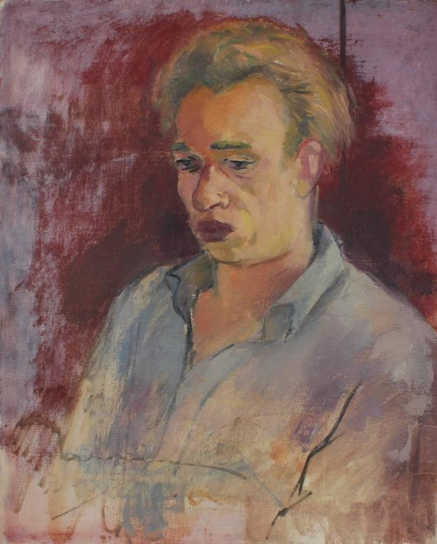 Martin Snipper Portrait Painting - Self Portrait with Red, Oil on Canvas, Circa 1930s