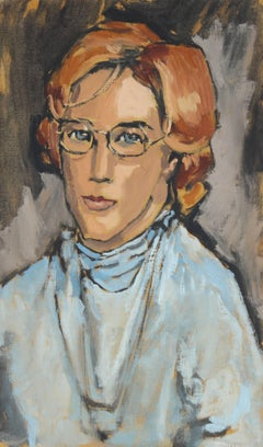 Woman with Glasses, Modernist Portrait in Oil, 1969