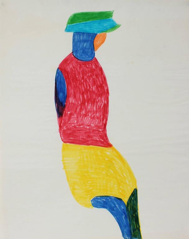 Dellard Cassity Figurative Art - Abstracted Seated Figure, Felt Pen on Paper, 1970s