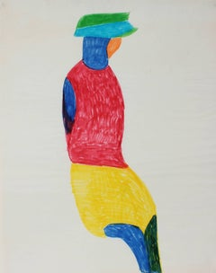 Abstracted Seated Figure, Felt Pen on Paper, 1970s