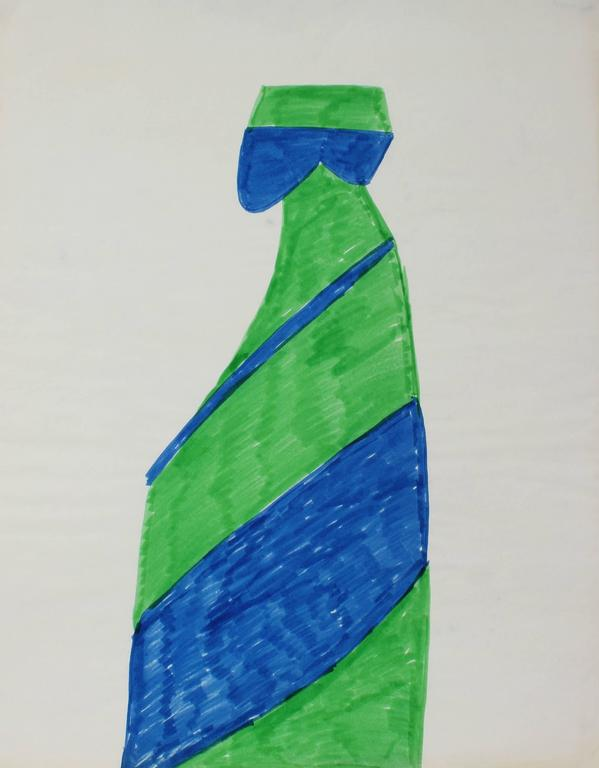Dellard Cassity Abstract Drawing - Figurative Abstract in Blue and Green, Circa 1970