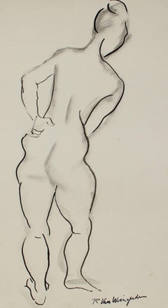 Expressionist Nude Figure in Ink, Circa 1950s