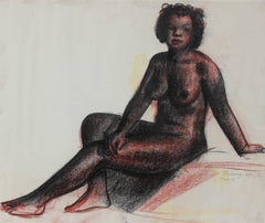 Seated Female Nude in Charcoal, Circa 1930s