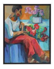 Seated Figure with Flowers, oil on Canvas Portrait, 20th Century
