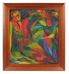 Colorful Expressionist Figures, Oil on Canvas, Circa 1950