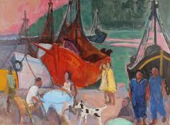 Bustling Harbor Scene in Oil, Mid 20th Century