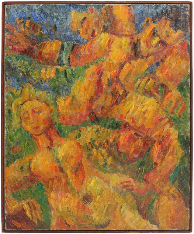 """Running Man"" Expressionist Oil, 1948"