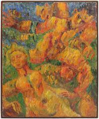 """Running Man"" Expressionist Oil, 1948"