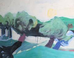 Modernist Landscape with Trees, Oil on Paper, Circa 1980