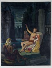 """Bacchus with Wine"" Oil Painting, 1943"