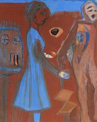 Expressionist Figures in Rust & Blue, Gouache on Paper, 20th Century