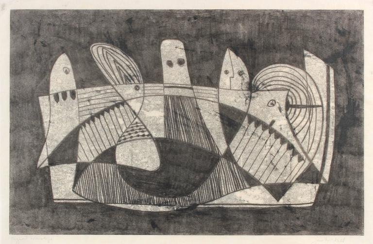 Abstracted Cubist Figures, Monotype on Paper, Circa 1970