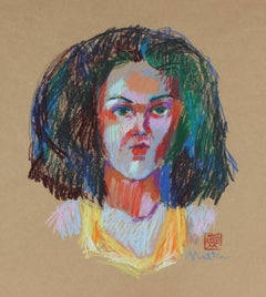 Fauvist Pastel Portrait, 20th Century