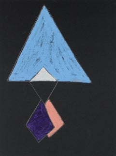 Triangular Abstract in Pastel Blue, Circa 1970s