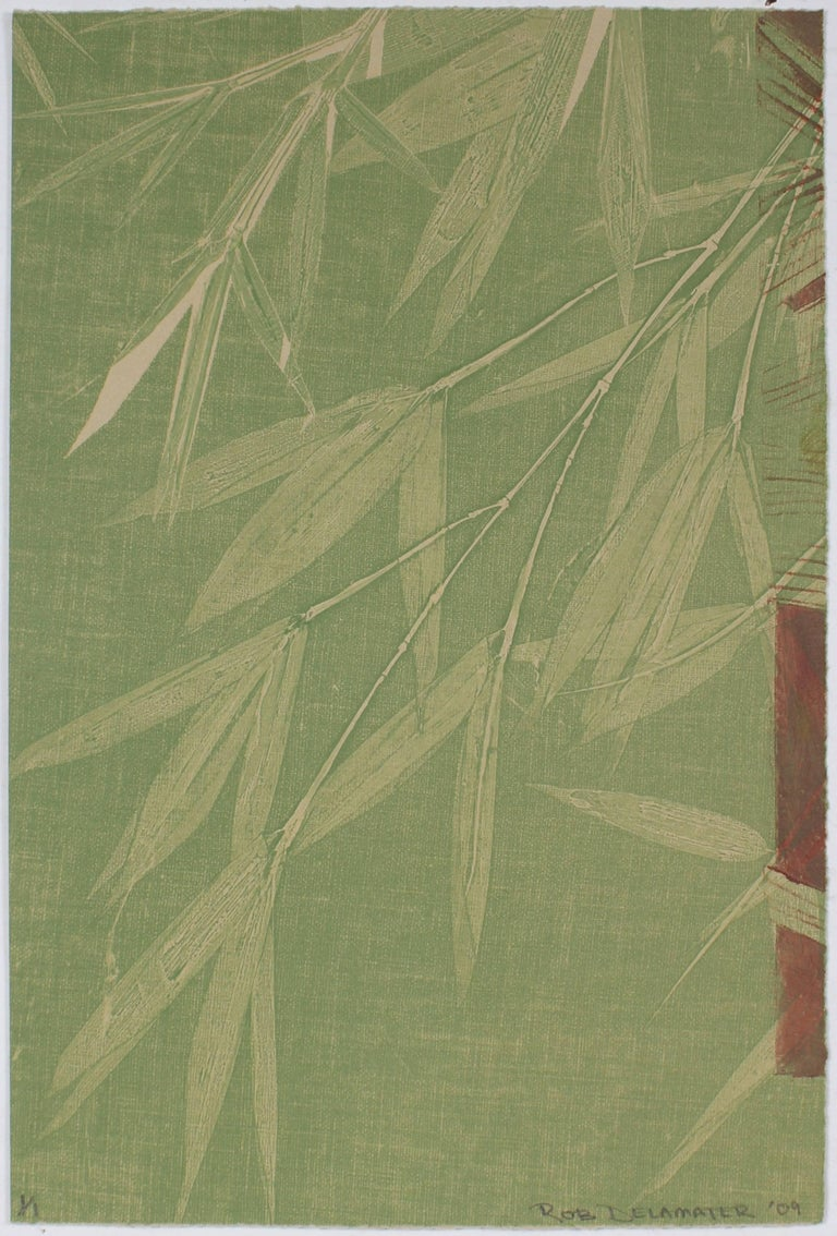 Rob Delamater Still-Life Print - Contemporary Minimalist Bamboo Monotype in Green, Asian Aesthetic, 2009