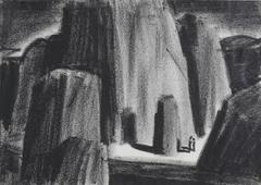 Monochromatic Canyon Landscape in Charcoal, Circa 1930