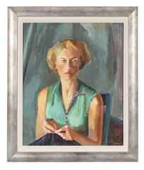 Portrait of the Artist's Wife, Mid 20th Century Oil Painting