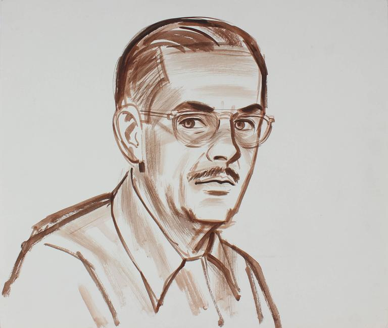 Self Portrait of the Artist with Glasses, Watercolor Painting, Circa 1940