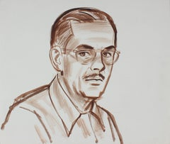 Self Portrait of the Artist w Glasses, Watercolor Painting in Brown, Circa 1940