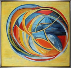 """""""Uranus"""" Large Abstract Expressionist Oil in Yellow, 1970s"""