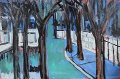 New York Cityscape with Trees, Acrylic Paint, 1998
