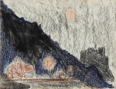 """Mexico"" Nighttime Landscape in Oil Pastel with Trees and Moon in Pink, 1975"