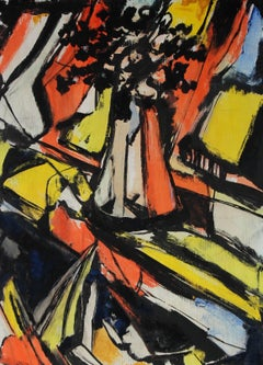 Warm Abstract Expressionist Still Life Painting, Circa 1940s