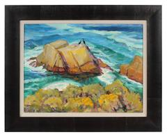 Carmel, California Seascape in Oil, 20th Century
