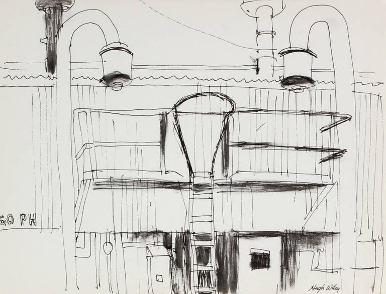 Hugh Wiley Landscape Art - Bay Area Industrial Scene in Ink, 1974