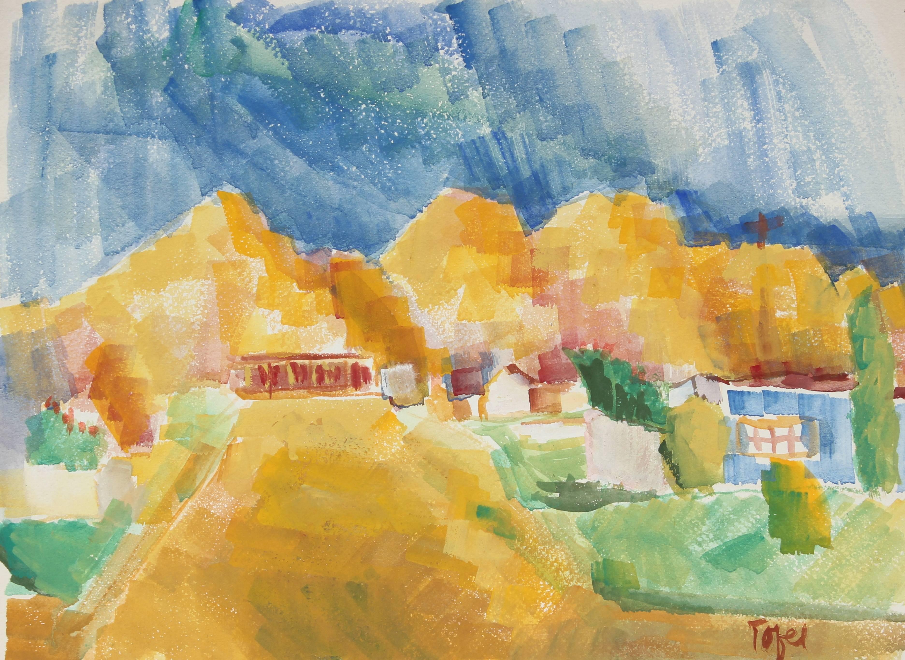Expressionist Desert Landscape, Watercolor, Mid 20th Century