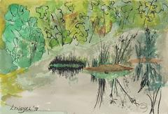 """Alaskan Pond"" Landscape, Watercolor and Ink, 1978"